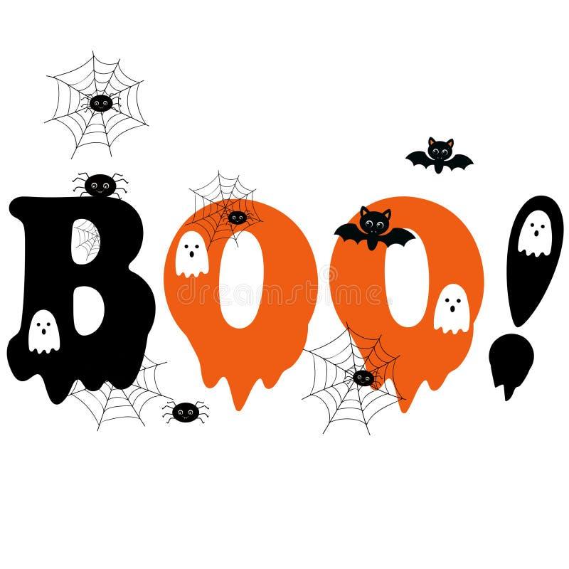 Free BOO! Halloween . Cartoon Halloween Card. Illustration Stock Photo - 160846170