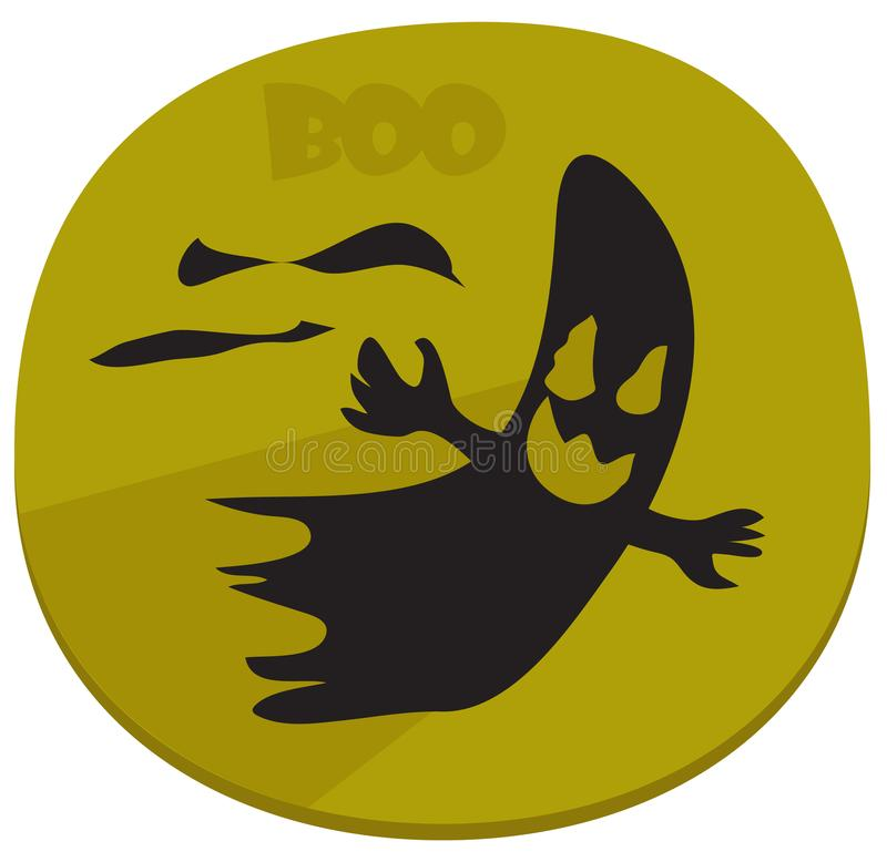 Boo! Halloween sticker with spooky ghost stock illustration