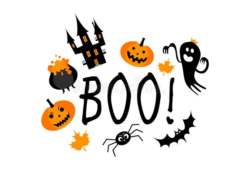 Boo! Hand drawn lettering and illustration. Vector illustration. Best banner for Halloween party stock illustration