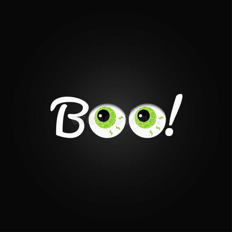 boo Rotulação de Dia das Bruxas com fundo do projeto dos olhos ilustração royalty free