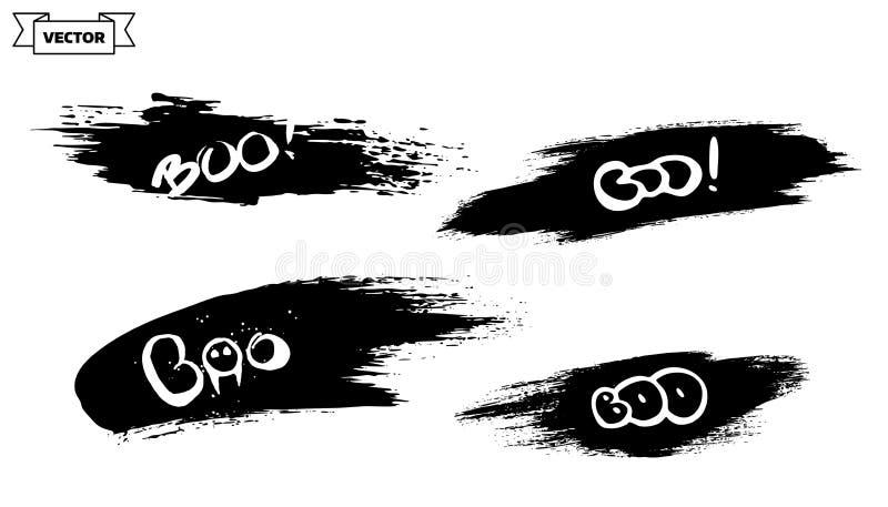 Boo. Set of design element for Halloween. Lettering design template, brush grunge stock illustration