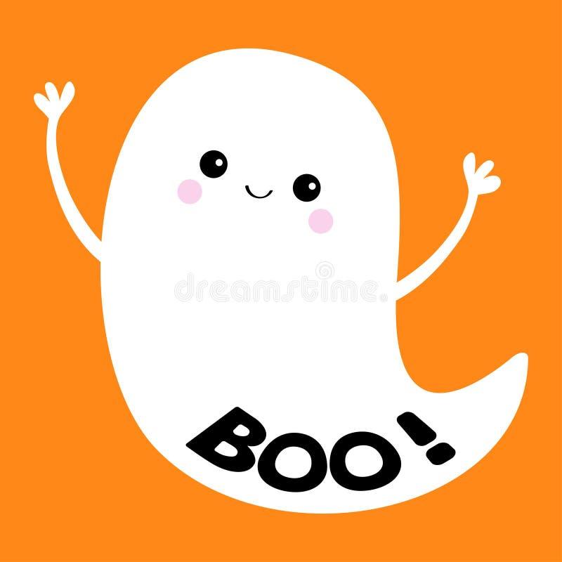 Boo Text Espírito do fantasma do voo Halloween feliz Fantasmas brancos assustadores Caráter assustador dos desenhos animados boni ilustração stock