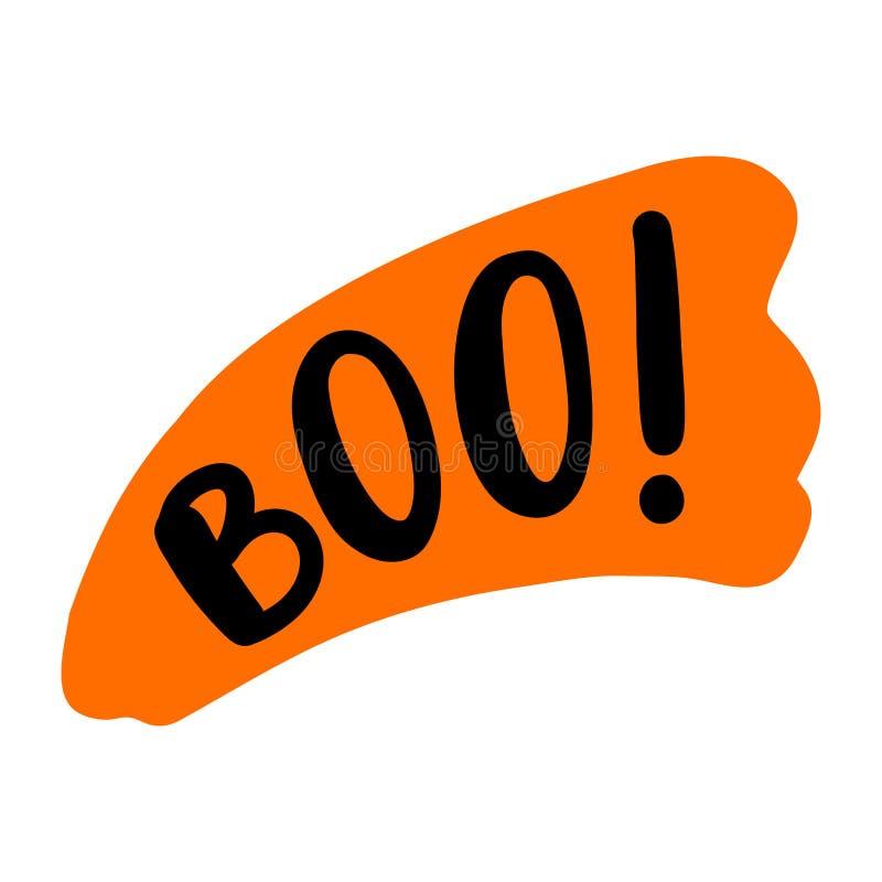 Boo Text Somente uma única palavra Ilustração do vetor colorido Cartão feliz de Dia das Bruxas ilustração royalty free