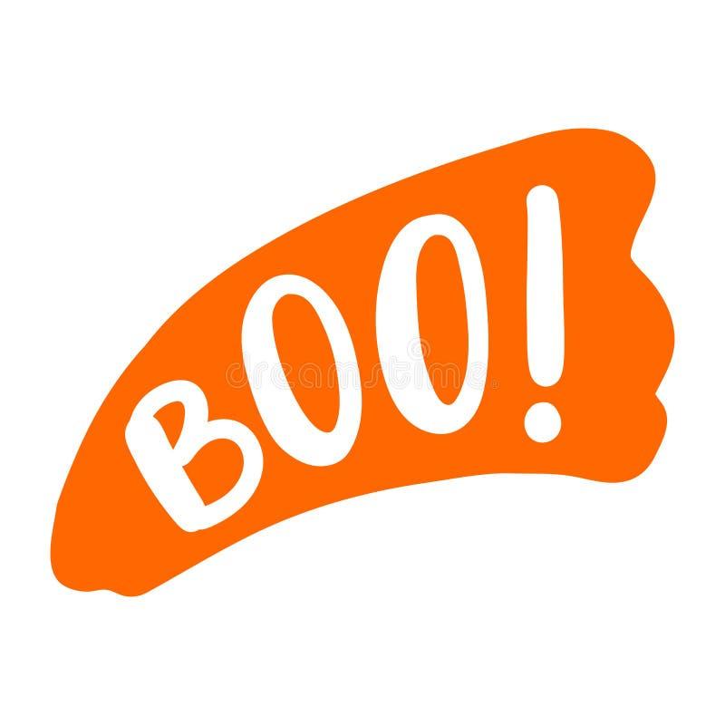 Boo Text Somente uma única palavra Ilustração do vetor colorido Cartão feliz de Dia das Bruxas ilustração do vetor