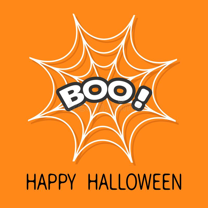 Boo Text Web redonda da aranha Branco da teia de aranha Elemento da decoração Cartão feliz de Halloween Projeto liso Fundo alaran ilustração do vetor
