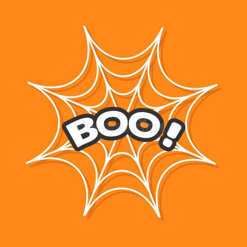 Boo Text Web rotondo del ragno Bianco della ragnatela Elemento della decorazione Cartolina d'auguri felice di Halloween Progettaz illustrazione vettoriale