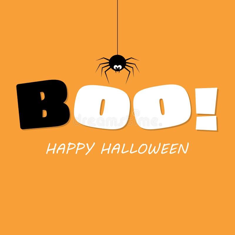 Boo voor halloween achtergrond De de calligrafiposter van de feestdag, groetkaart, partijuitnodiging, Vectorillustratie stock illustratie