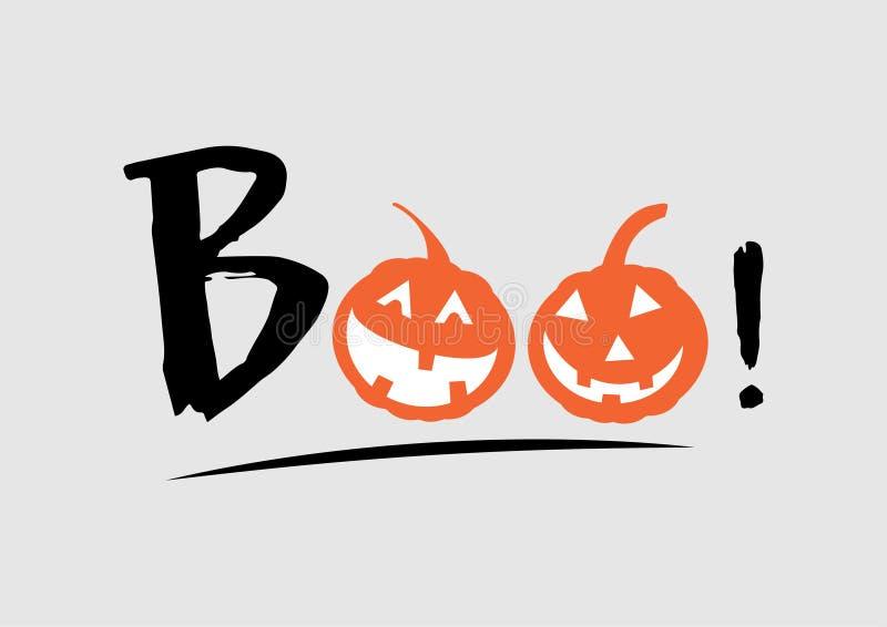 Boo voor halloween achtergrond De de calligrafiposter van de feestdag, groetkaart, partijuitnodiging, Vectorillustratie vector illustratie