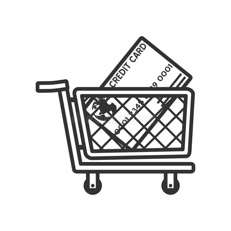 Boodschappenwagentje en Creditcardoverzichtspictogram stock illustratie