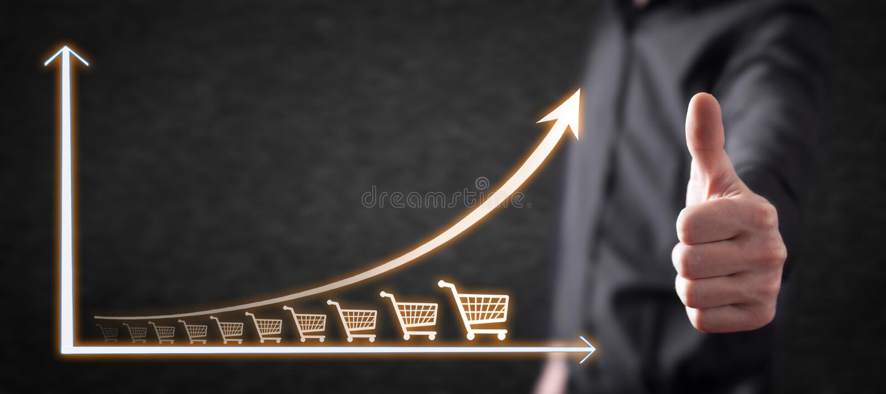 Boodschappenwagentje en de groeigrafiek Verhoging van verkoop royalty-vrije stock foto