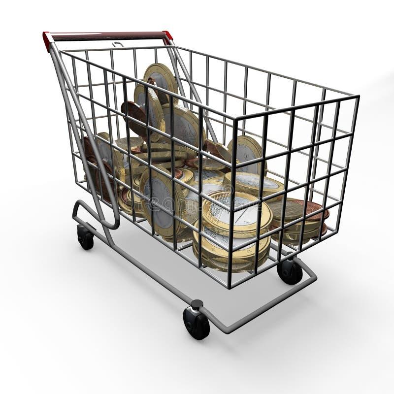 Boodschappenwagentje euro geld stock illustratie