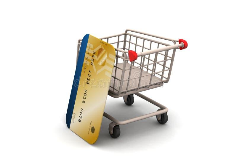 Boodschappenwagentje met creditcard stock illustratie