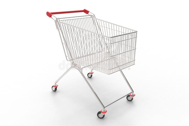 Boodschappenwagentje (Rood en Zilveren) royalty-vrije stock afbeeldingen