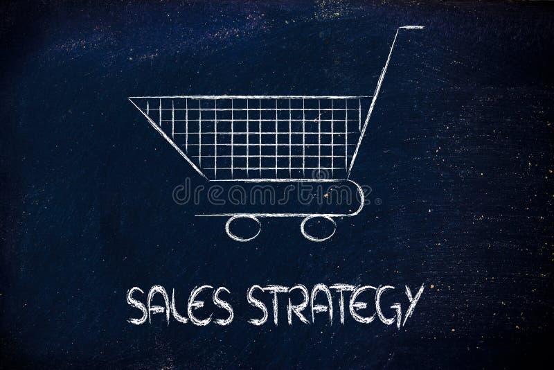 Boodschappenwagentje, symbool van marketing technieken en strategie royalty-vrije stock foto's