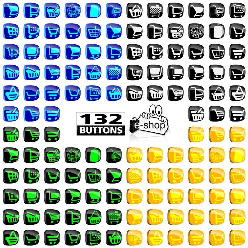 Boodschappenwagentjepictogrammen vector illustratie