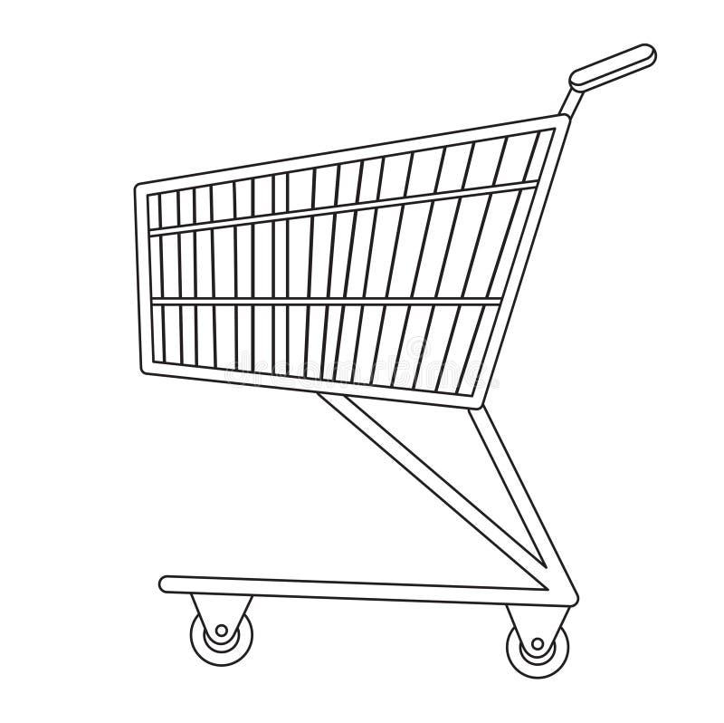 Boodschappenwagentjespictogram, lijn, schets, krabbelstijl Metaalkarretje, voor aankopen in een supermarkt op wit vector illustratie