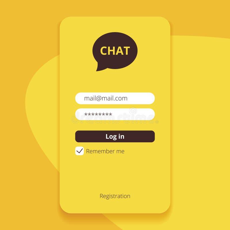 Boodschapper met het vullen van pagina van het vorm de vector, gele begin Mobiel sociaal netwerk voor globale mededeling, besprek vector illustratie