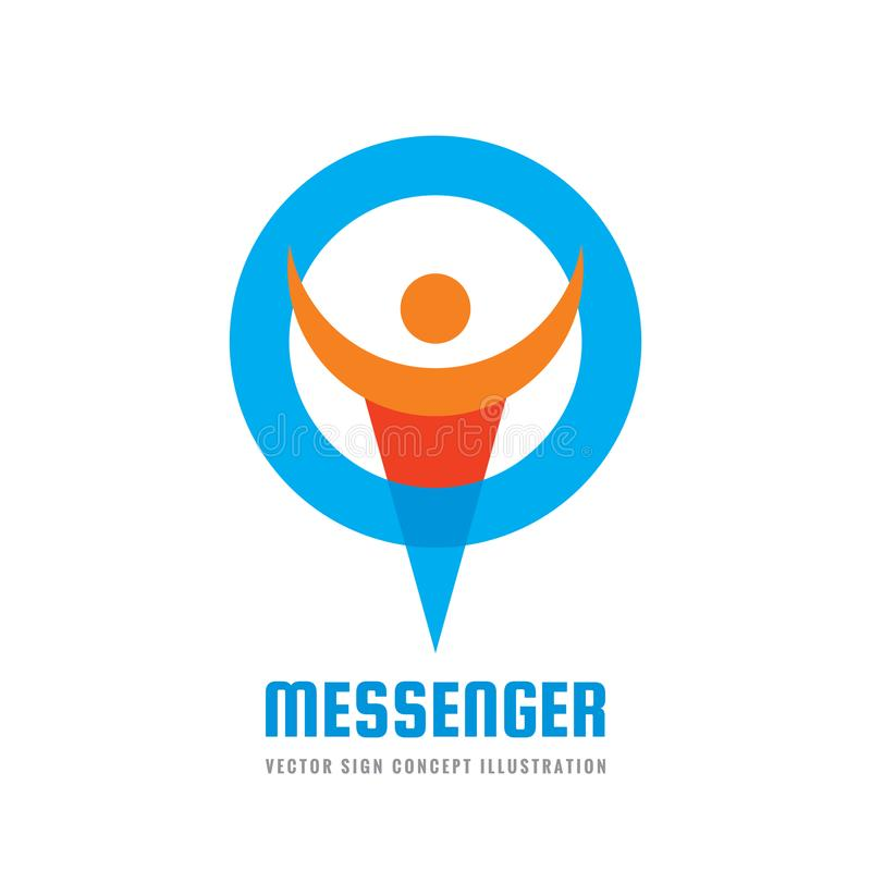 Boodschapper - vector het conceptenillustratie van het embleemmalplaatje De sociale media vatten creatief teken samen Praatje spr stock illustratie