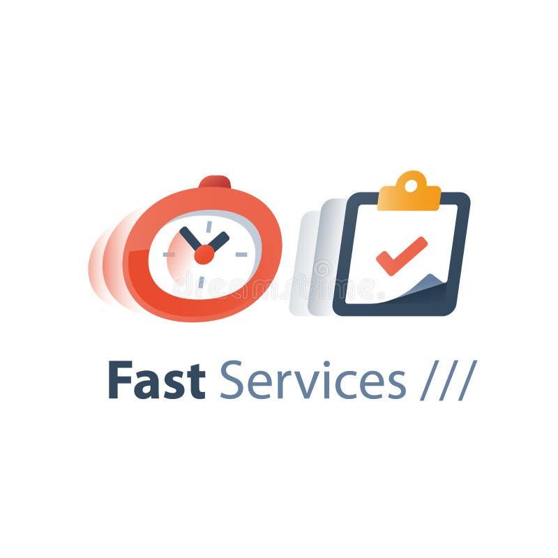 Boodschapperslevertijd, de snelle dienst die, tijd, chronometer in motie, uiterste termijnconcept, snel onderzoek, inschrijvingst royalty-vrije illustratie