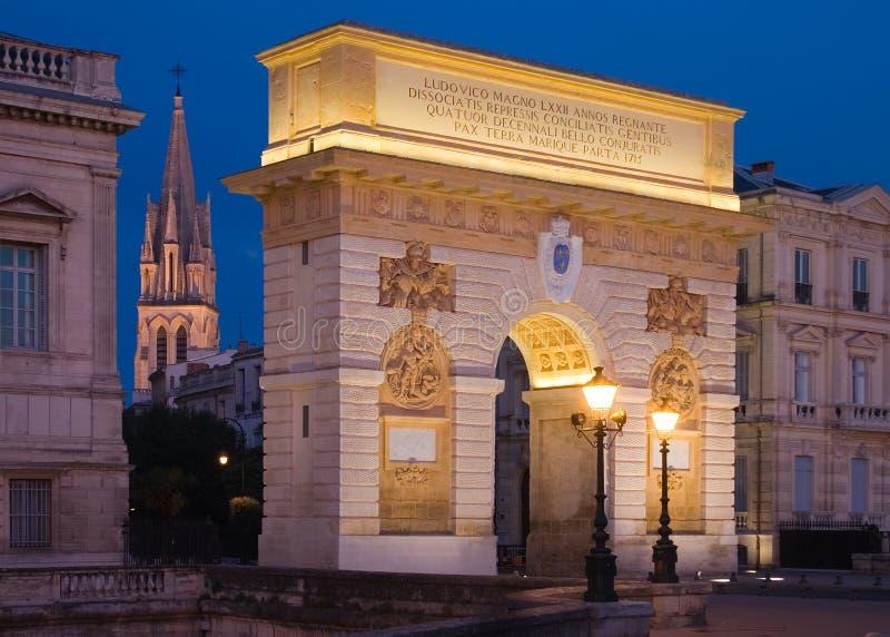 Boog DE triomphe, Montpellier, Frankrijk stock afbeelding
