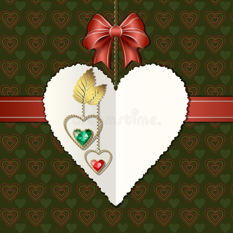 Boog, diamanten en fotografisch document hart stock illustratie