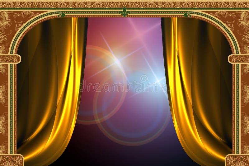 Boog, gordijn en het licht royalty-vrije illustratie