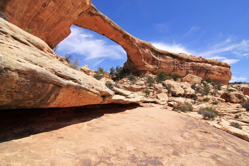 Boog in het Natuurlijke Nationale Monument van Bruggen, Utah royalty-vrije stock foto's