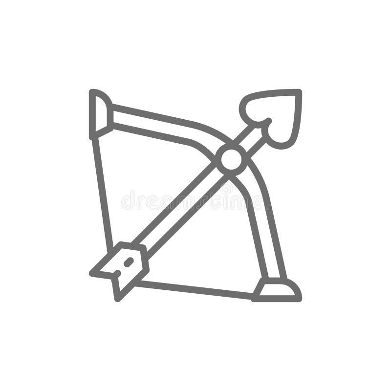 Boog met pijl van liefde, cupido, de lijnpictogram van het valentijnskaartenwapen vector illustratie