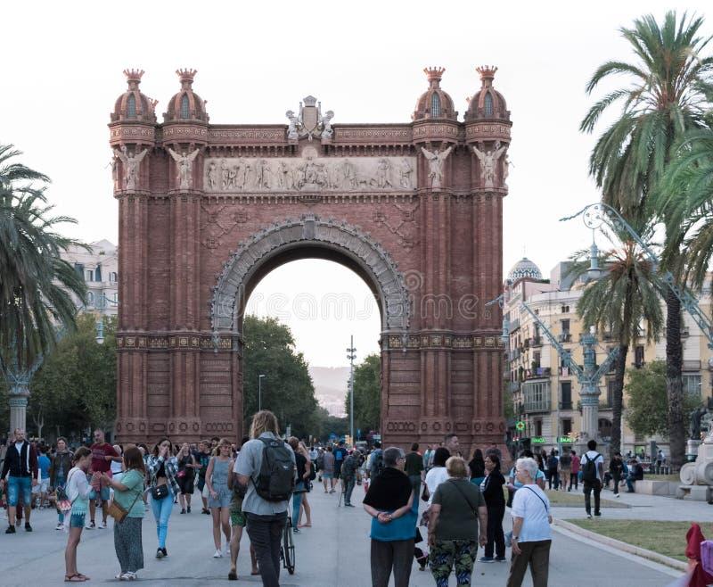 Boog triomfantelijk DE Barcelona stock fotografie