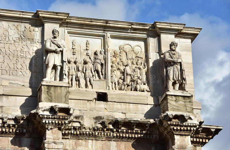 Boog van Constantine zolder met Dacian-Barbaren royalty-vrije stock foto's