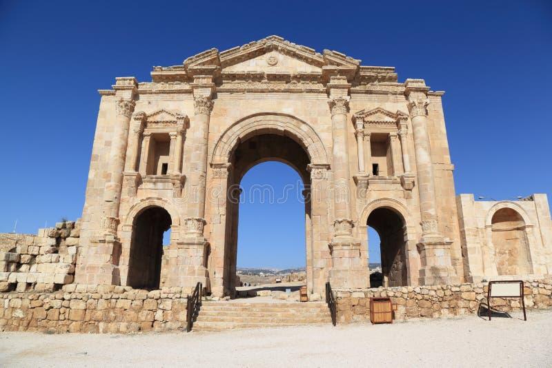 Boog van Hadrian - Jerash, Jordanië royalty-vrije stock afbeeldingen