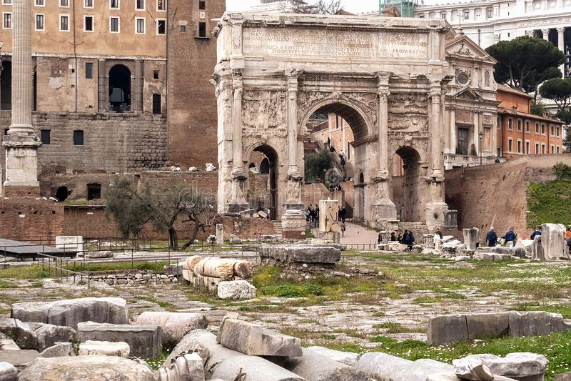 Boog van Septimius Severus royalty-vrije stock foto's