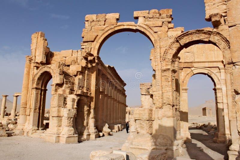 Boog van Triomf Ruïnes van de oude Semitische stad van Palmyra kort voor de oorlog, 2011 royalty-vrije stock afbeeldingen