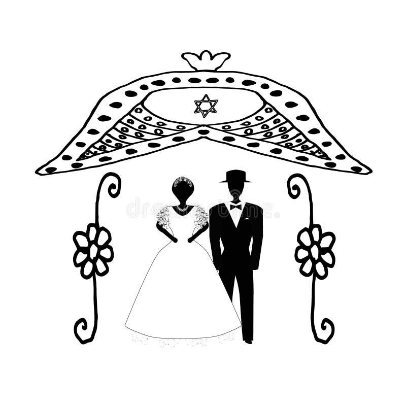 Boog voor huwelijkswijnoogst in bloemen Joodse Hupa Huwelijkshoepel Bruid en bruidegom doodle De hand trekt Vector illustratie vector illustratie