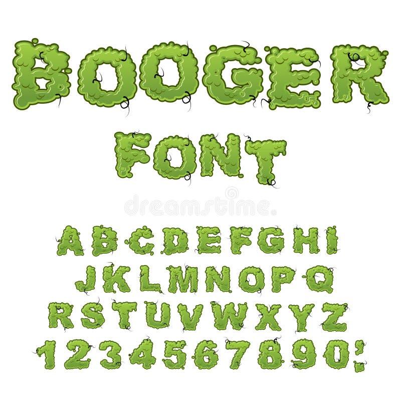 Booger font. Slippery lettering. Snivel alphabet. Green slime le. Tters. Snot ABC. Mucus typography stock illustration