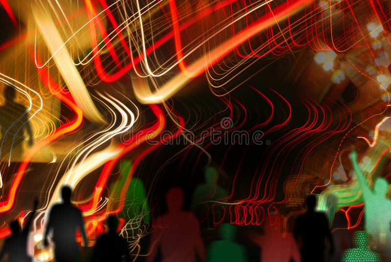 Boogey night. Disco lights in motion and silhouettes at party night (with neon glow