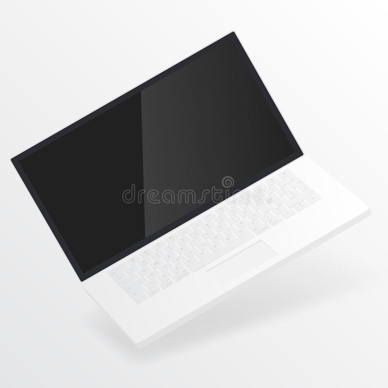 White open laptop with blank screen isolated on white background. Computer notebook with empty screen. Laptop mockup isolated on white background. Empty screen royalty free illustration