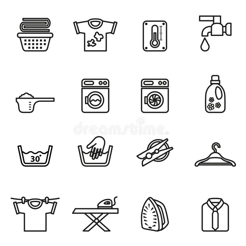 Laundry, Housework icons set with white background. Line style stock vector vector illustration