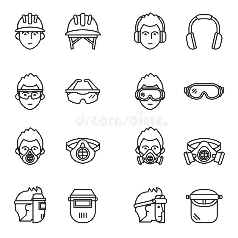 Safety, Protective Equipment icons set. Thin line style stock vector. royalty free illustration