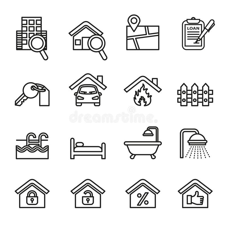 Real estate icons set. Thin line style stock vector. vector illustration