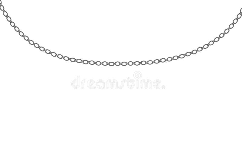 Platinum chain necklace. Silver necklace. Platinum chain with a pearl. Luxury shiny jewelry chain, isolated vector illustration for advertising royalty free illustration