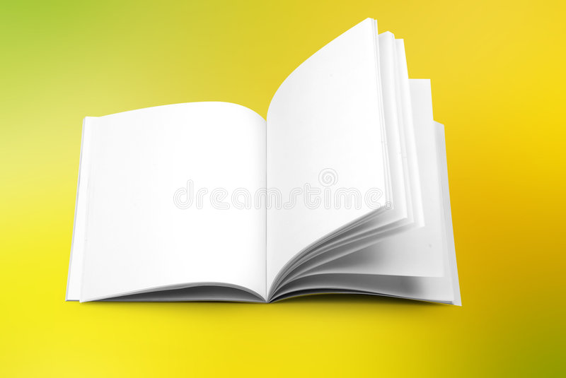 Book. Open book on yellow background with clipping path