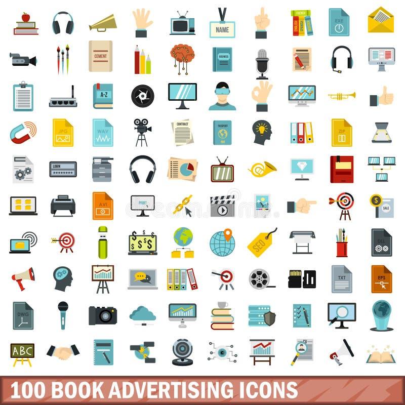 100 book advertising icons set, flat style royalty free illustration