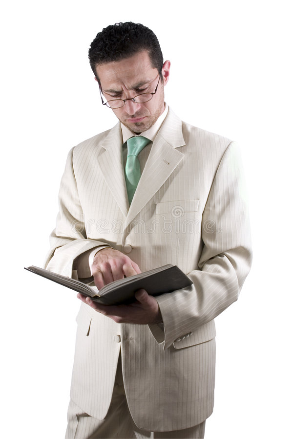 book affärsmannen glassed paravläsning arkivfoton