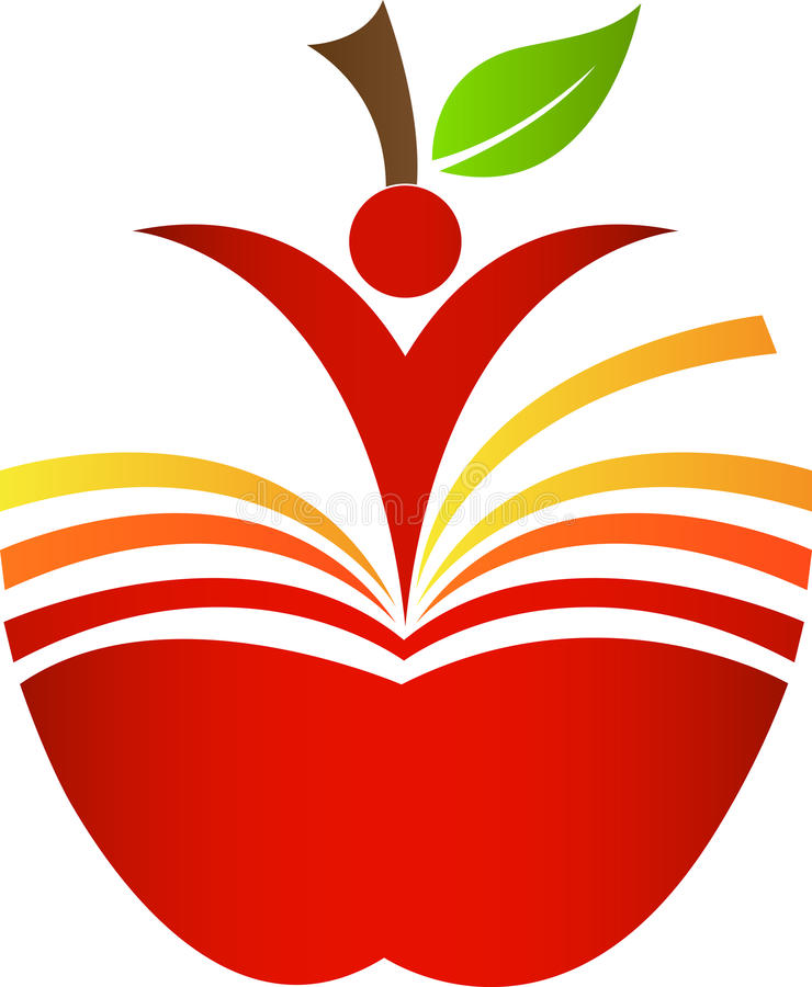 Book apple. A vector drawing represents book apple design stock illustration