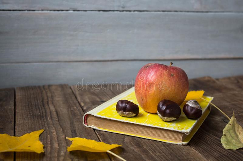A book apple yellow leaves chestnut on wooden background royalty free stock photo