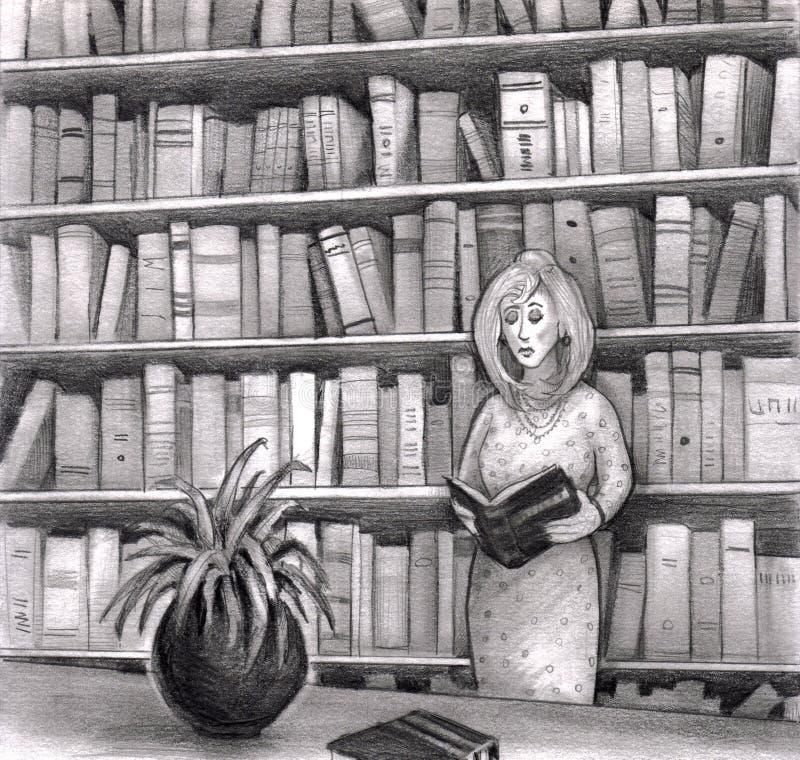 book arkivavläsningskvinnan stock illustrationer