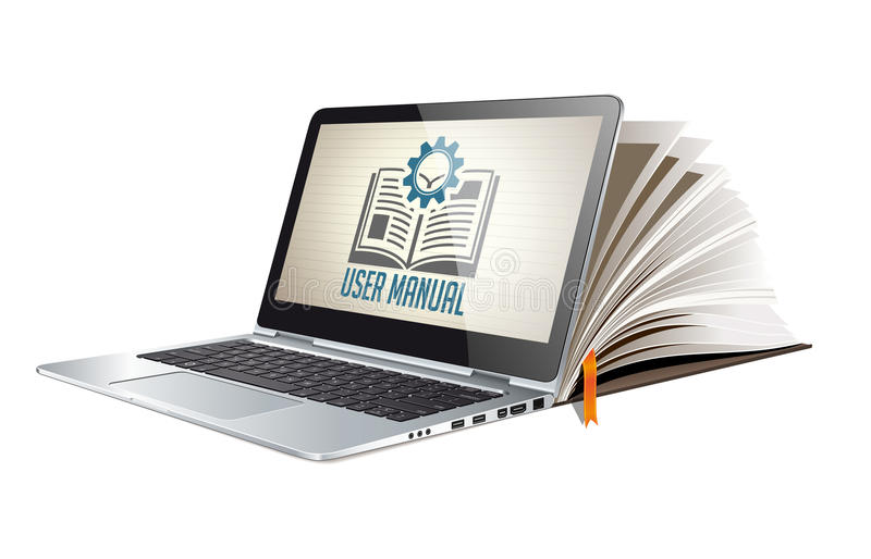 Book as knowledge base - User guide manual stock illustration
