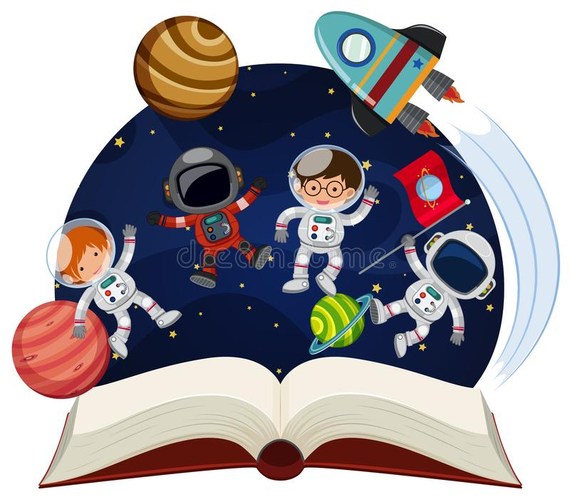 Book about astronomy with astronauts and planets. Illustration royalty free illustration