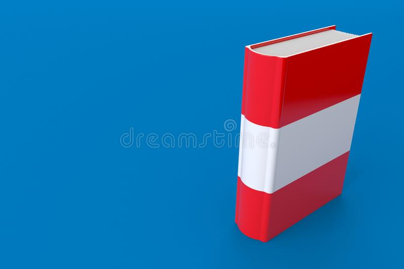 Book with austrian flag. Isolated on blue background. 3d illustration vector illustration